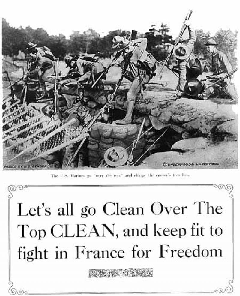 Let's all go Clean Over The Top CLEAN, and keep fit to fight in France for Freed