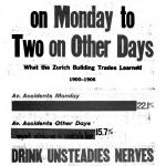 Three Accidents on Monday to Two on Other Days, a poster by the American Issue Publishing Co., Westerville, OH, 1913